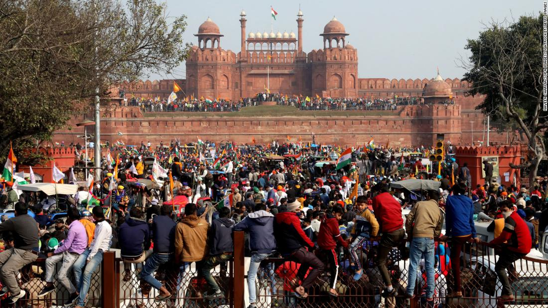 Indian farmers storm New Delhi's Red Fort during large-scale tractor protest