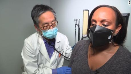 "Stephanie Elam gets an ""abbreviated physical exam"" from Dr. Kenneth Kim."