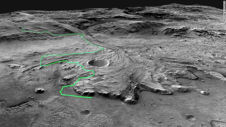 Mars Reconnaissance Orbiter tarafından toplanan bu resim mozaiği, Mars 2020 Perseverance gezgininin Jezero Krateri boyunca gidebileceği olası bir rotayı gösteriyor.