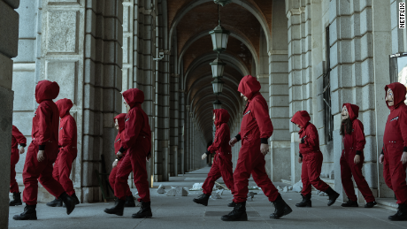 "A still from the set of ""Money Heist."" Netflix announced last year that it would produce a Korean adaptation of the Spanish series."