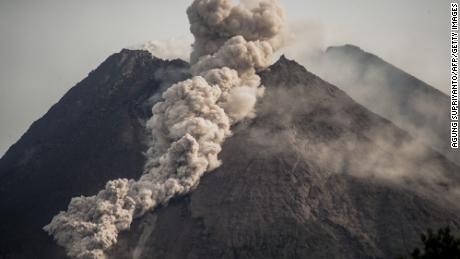 Mount Merapi, Indonesias most active volcano, spews rocks and gas for another day in Yogyakarta on January 27, 2021.