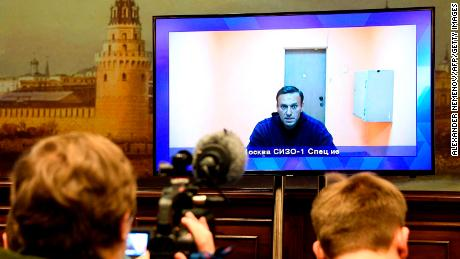 Opposition leader Alexey Navalny appears via video link during a court hearing on January 28 of an appeal against his arrest.