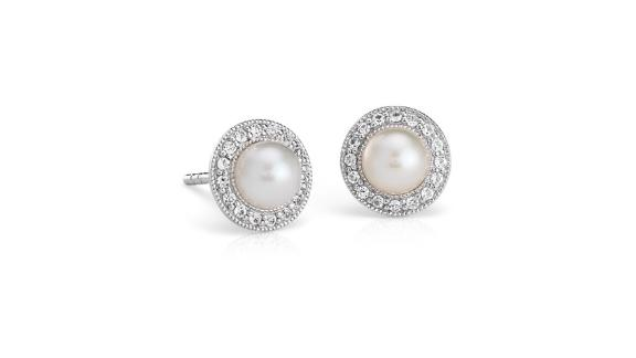 Blue Nile Vintage-Inspired Freshwater Cultured Pearl and White Topaz Halo Earrings