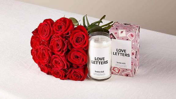 One Dozen Red Roses and Homesick Candle
