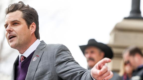 Rep. Matt Gaetz (R-FL) speaks to a crowd during a rally against Rep. Liz Cheney (R-WY) on January 28, 2021 in Cheyenne, Wyoming. Gaetz added his voice to a growing effort to vote Cheney out of office after she voted in favor of impeaching Donald Trump.