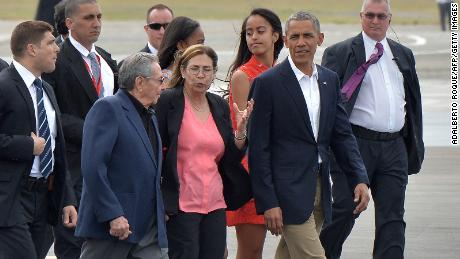 Then-President Barack Obama accompanied by Cuban President Raul Castro at Jose Marti international airport in Havana on March 22, 2016.
