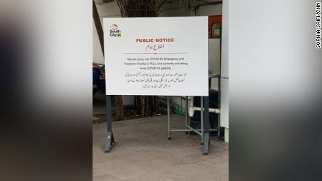A sign at South City Hospital, a private hospital in Karachi which has stopped taking Covid-19 patients as all its ICU beds are full.