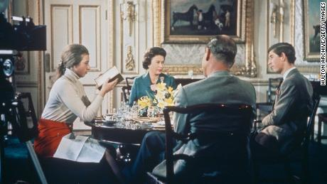 Queen Elizabeth II, Prince Philip, Princess Anne and Prince Charles have lunch at Windsor Castle while BBC cameras film them for the documentary.