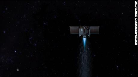 This illustration shows the OSIRIS-REx spacecraft leaving the asteroid Bennu to begin a two-year journey back to Earth.