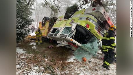 Slippery road conditions factored into this fire truck accident in Virginia on Sunday.