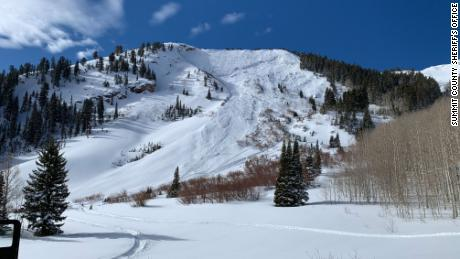 Square Top Mountain, in the area where the skier was buried, is pictured Sunday.