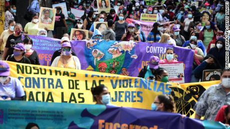 Women march in Tegucigalpa on January 25, 2021 to protest against Congress strengthening the constitutionally mandated ban on abortion.