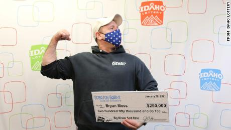 Bryan Moss won his sixth prize from the Idaho Lottery.