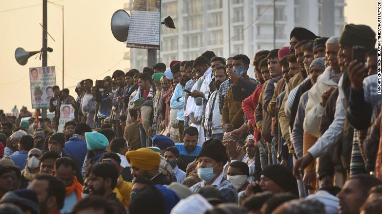 Demonstrators gather at Ghazipur, on January 30, 2021 in New Delhi, India.