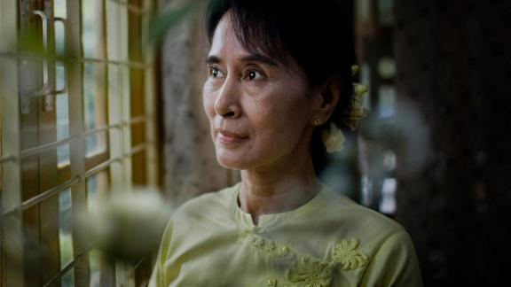 Aung San Suu Kyi poses for a portrait in Yangon, Myanmar, in 2010. A month earlier, she had been released from house arrest.