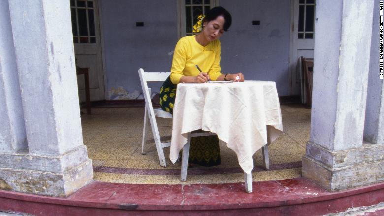 "While under house arrest, Suu Kyi won the Nobel Peace Price in 1991. She was honored ""for her non-violent struggle for democracy and human rights."""