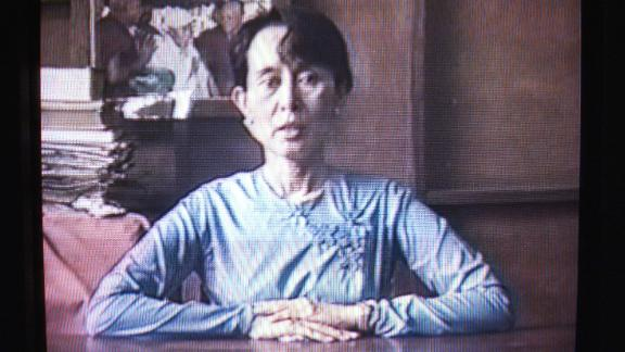 Suu Kyi, in a 1999 home video, gives her support to economic sanctions against her country as a means to affect the governing military.