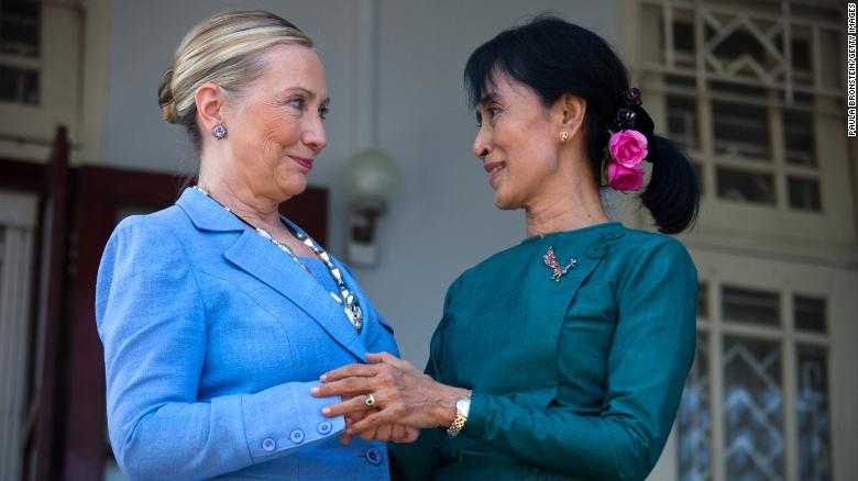Suu Kyi meets US Secretary of State Hillary Clinton at Suu Kyi's residence in Yangon in 2011.
