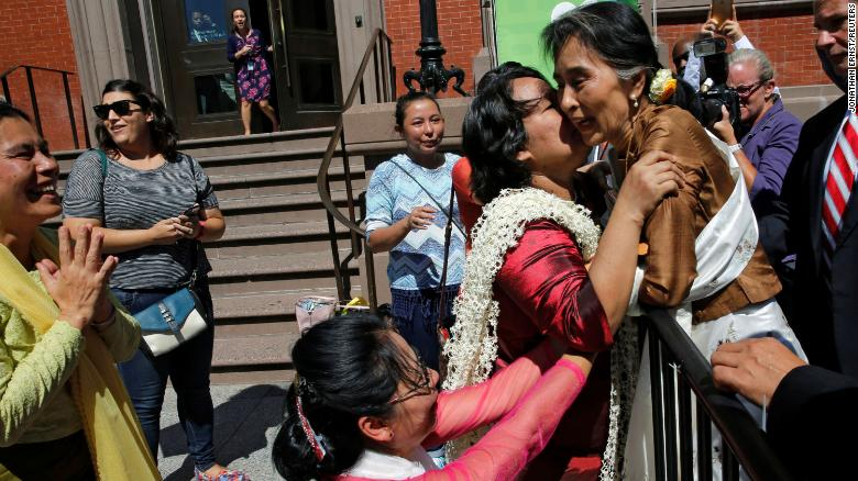 Supporters rush to greet Suu Kyi in Washington, DC, after she met with US Secretary of State John Kerry in 2016.