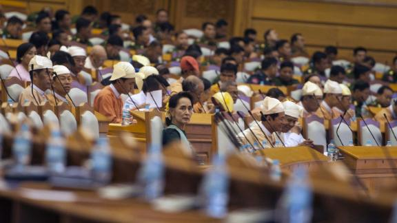 Suu Kyi and members of parliament take their positions during the presidential vote in Naypyidaw, Myanmar, in 2016. Htin Kyaw, Suu Kyi's longtime aide, was voted as president.