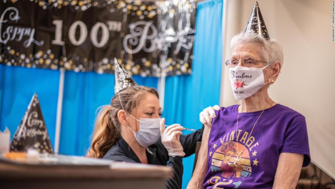 Indiana woman gets Covid-19 vaccine on her 100th birthday - CNN Video