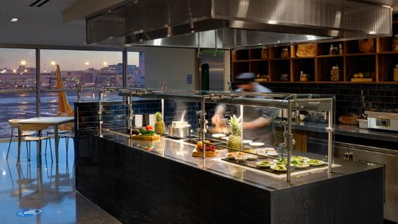 Guests at the Denver Centurion Lounge can get their dish to order at the live cooking station.