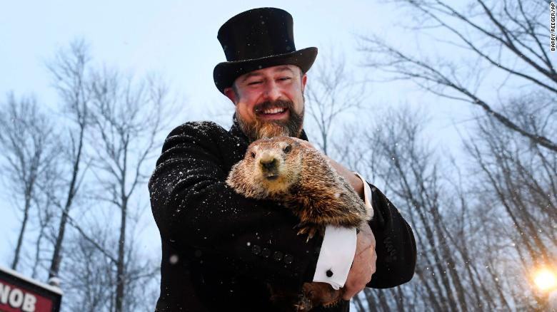 Punxsutawney Phil sees his shadow and predicts six more weeks of winter