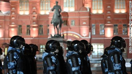 Law enforcement officers block Moscow's Manezhnaya Square in Moscow February 2, 2021.