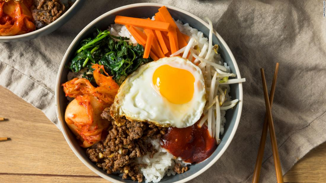 Go Asian on Tuesday with a spicy homemade Korean bibimbap, or rice with mixed vegetables and beef, topped with an egg.