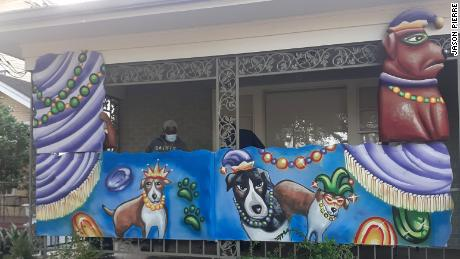 One homeowner hired Pierre to enshrine her own dogs in her house float design.