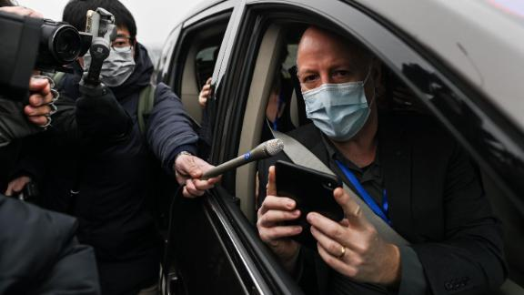 Peter Daszak, a member of the World Health Organization (WHO) team investigating the origins of the COVID-19 coronavirus, speaks to media upon arriving with other WHO members to the Wuhan Institute of Virology in Wuhan in China's central Hubei province on February 3, 2021. (Photo by Hector RETAMAL / AFP) (Photo by HECTOR RETAMAL/AFP via Getty Images)