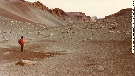 This view shows a distinctly Mars-like perspective of Wright Valley in Antarctica.