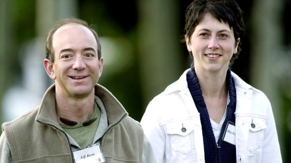 Bezos and his wife, MacKenzie, arrive at a media conference in Sun Valley, Idaho, in 2003. They divorced in 2019 after 25 years of marriage.