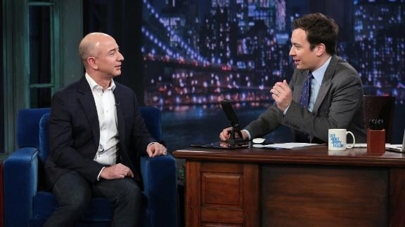 """Bezos appears on """"Late Night with Jimmy Fallon"""" in 2012."""