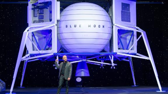 Bezos shows off Blue Moon, Blue Origin's lunar landing prototype, in 2019.