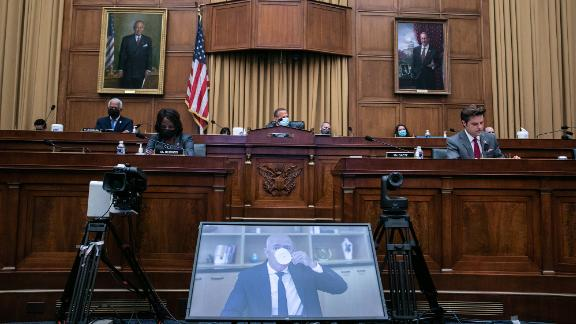 Bezos testifies before a House subcommittee during an antitrust hearing in July 2020. Other powerful tech figures, including Apple CEO Tim Cook and Facebook CEO Mark Zuckerberg, were also questioned about their competitive tactics.