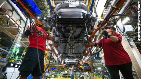 General Motors employees work on the assembly line Friday, April 26, 2019 at Fairfax Assembly & Stamping Plant in Kansas City, Kansas. The Fairfax facility produces the Cadillac XT4 and Chevrolet Malibu. (Photo by Jim Barcus for General Motors)