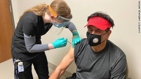 A Cherokee Nation citizen receives a Covid-19 vaccine on January 12, 2021.