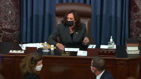 Image for Harris flexes power as Senate tiebreaker