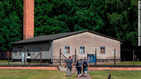 People visit the museum on the site of the former Stutthof Nazi concentration camp in July 2020.