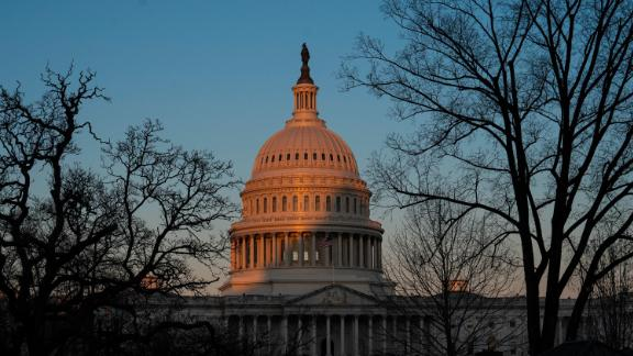 The exterior of the U.S. Capitol building is seen at sunrise on February 8, 2021 in Washington, DC. The Senate is scheduled to begin the second impeachment trial of former U.S. President Donald J. Trump on February 9.