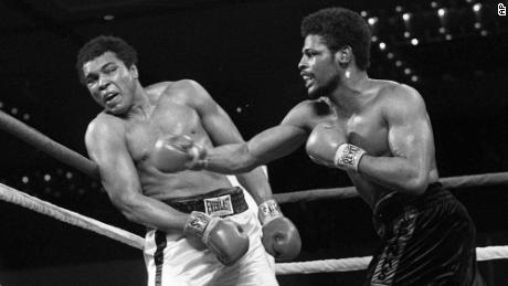 In this Feb. 15, 1978 photo, Leon Spinks, right, connects with a right hook to Muhammad Ali, during the late rounds of their championship fight in Las Vegas.
