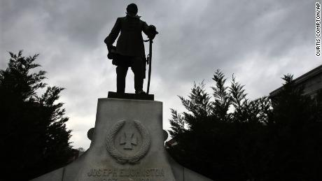 A statue of Confederate General Joseph E. Johnston has been removed from downtown Dalton and moved to a historic home.