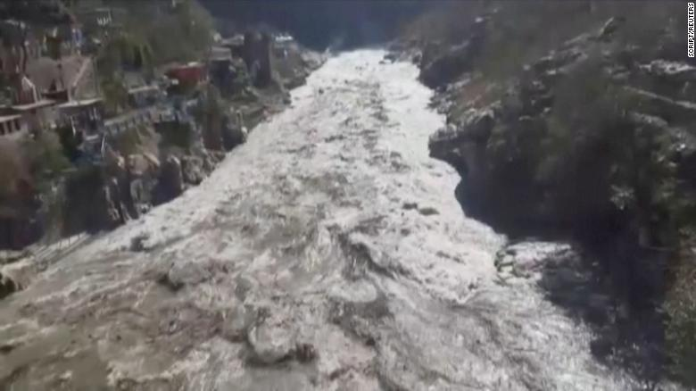 Scores missing and two dead as burst glacier triggers flash floods in India