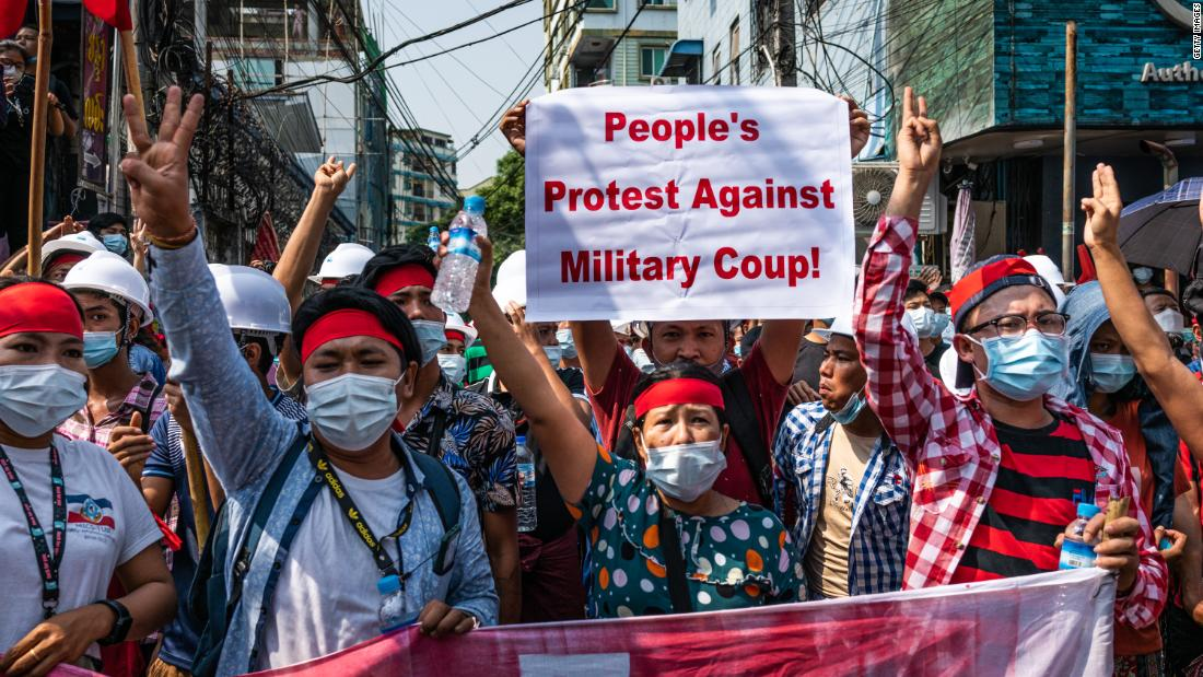 Myanmar coup protests: Thousands peacefully take to the streets to rally against military's seizure of power - CNN Video
