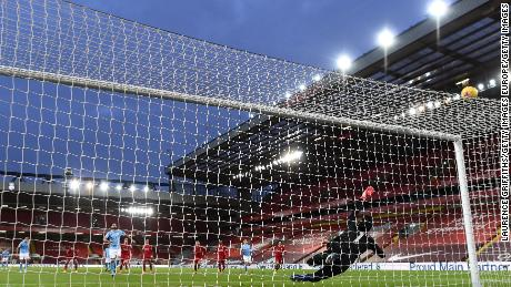 Gundogan misses a penalty against Liverpool.