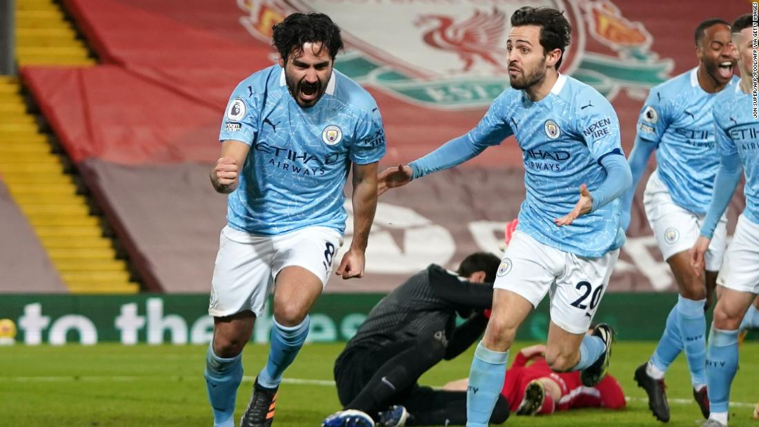 From zero to hero: Ilkay Gundogan misses penalty, scores twice in dominant Manchester City victory at Liverpool