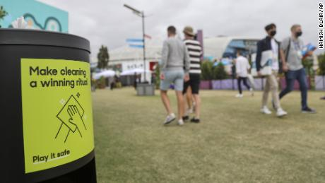 A hand sanitizer dispenser at Melbourne Park is seen ahead of the first round matches at the Australian Open on Monday.