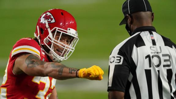 Kansas City safety Tyrann Mathieu reacts to a penalty late in the first half. Tampa Bay would score a touchdown on the possession. The Chiefs had 95 penalty yards in the first half -- a Super Bowl record for any team in a single half.
