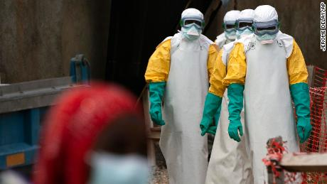 Health workers at an Ebola treatment center at Beni, the Democratic Republic of Congo, in July 2019.